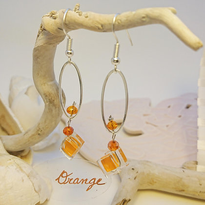 Boucles D'Oreilles • petit-ovale • orange
