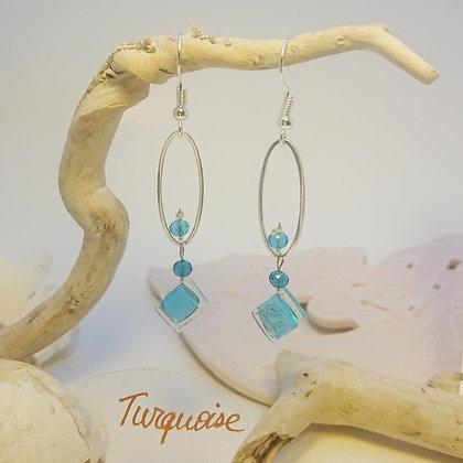 Boucles D'Oreilles • petit-ovale • Turquoise