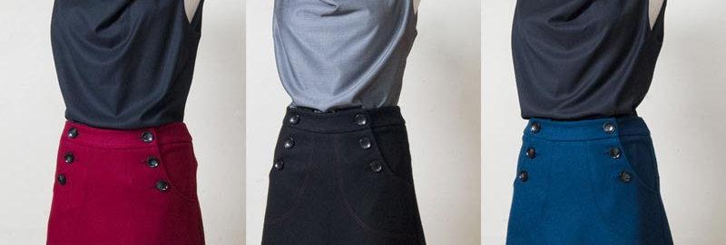 Betty Button Wool Skirt