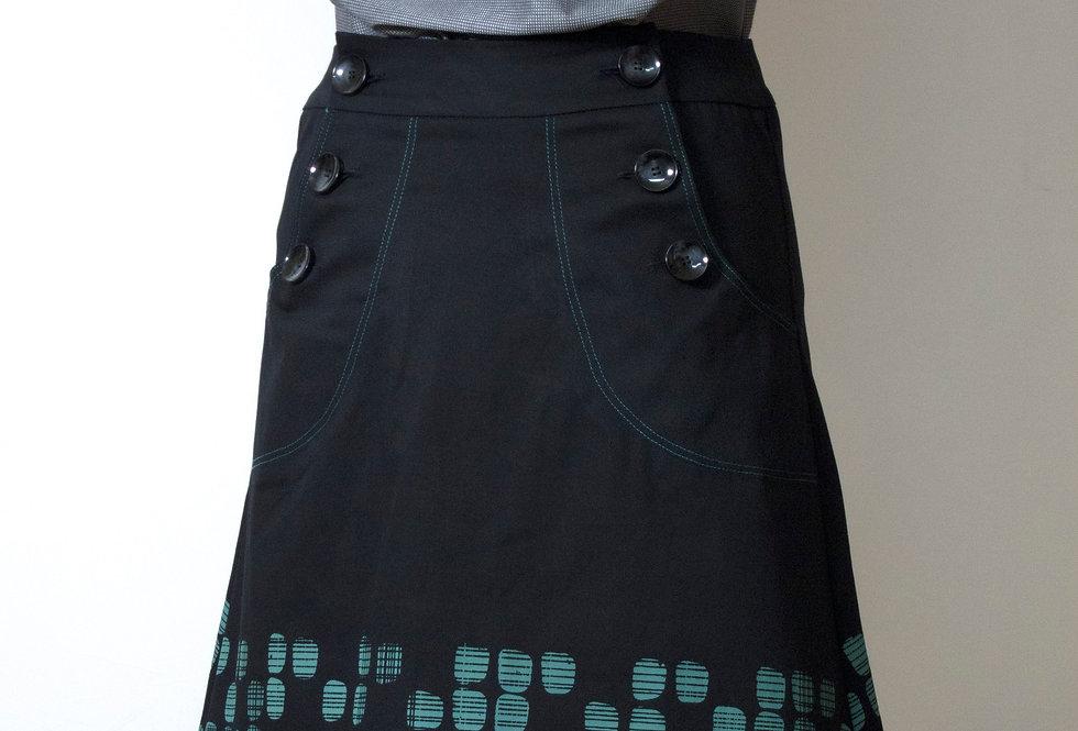 Betty Button mid length Skirt Green Trim