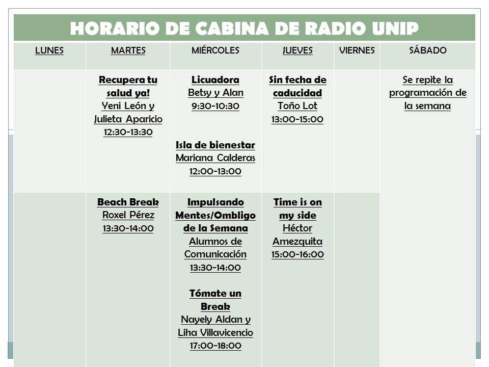 HORARIO RADIO UNIP