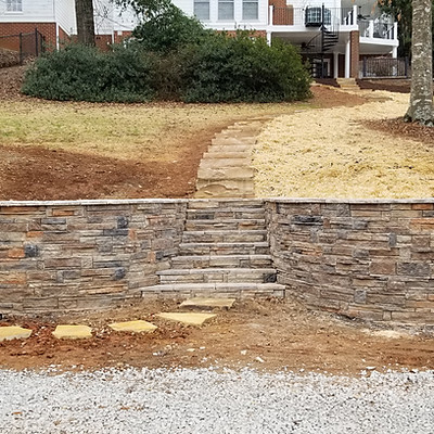 Giancola Watkinsville Stonehurst Retaining Wall & Walkways
