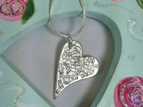 Fine Silver Filigree Heart Necklace