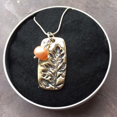 Bronze & Pearl Leaf Pendant