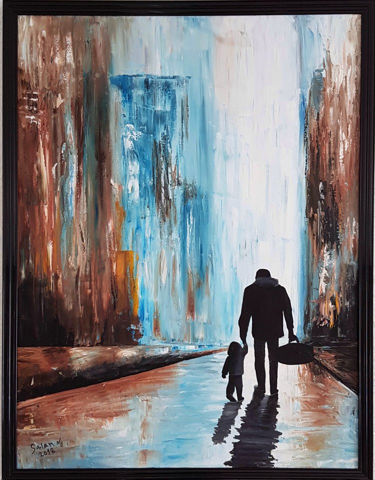 'Just Another Refugee' knife painting By Salam Noah, Ieclectica