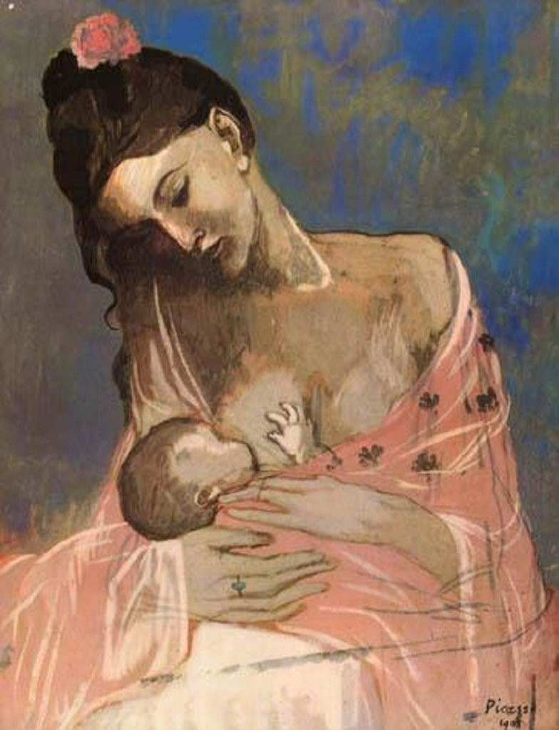 A painting of Maternity - mother and child by Pablo Picasso 1905