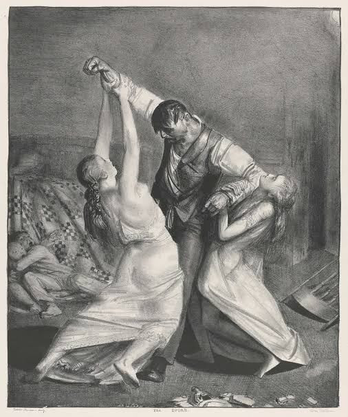 The Drunk  and domestic violence by George Bellows, 1923/1924 on lithograph, american artist, an article on ieclectica
