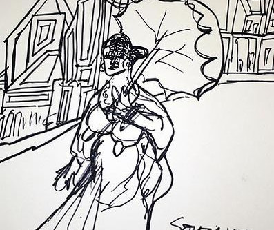 Woman with an Umbrella in a monochromatic world by F N Souza – 1976