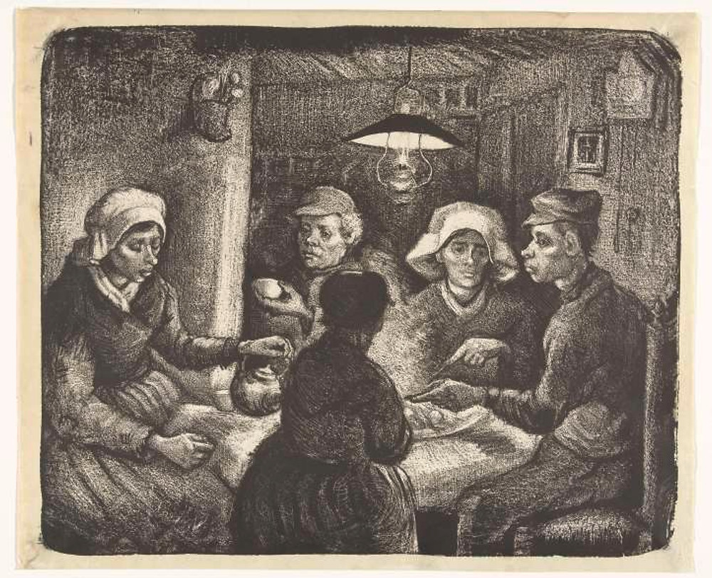 Inverted Lithograph - The Potato Eaters by Van gogh
