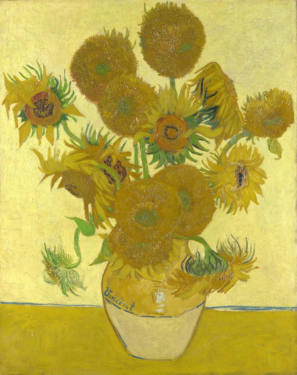 Sunflowers in a vase painting by Vincent Van Gogh Ieclectica