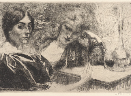 A dialogue in the mind of a drug addict by Albert Besnard, 1887