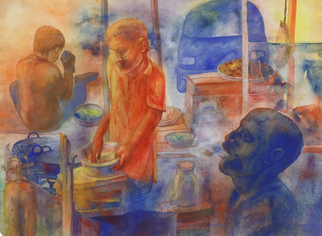 The everyday mundane, Bhajia Corner by Radha Binod Sharma – 1993