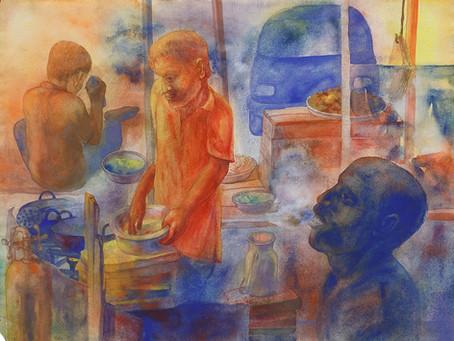 The everyday mundane, Bhajia Corner by Radha Binod Sharma – 1993
