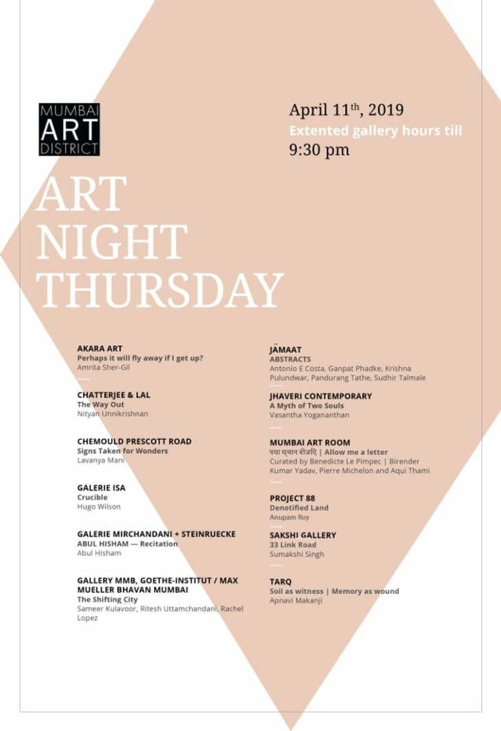 Art Night Thursday Schedule