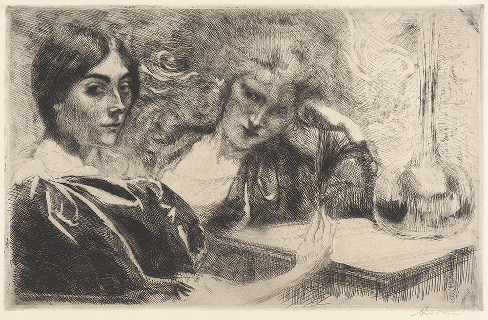 Albert Besnard (French, 1849 - 1934). The Morphine Addicts (Morphinomanes), 1887. Etching on Japan vellum paper. ieclectica