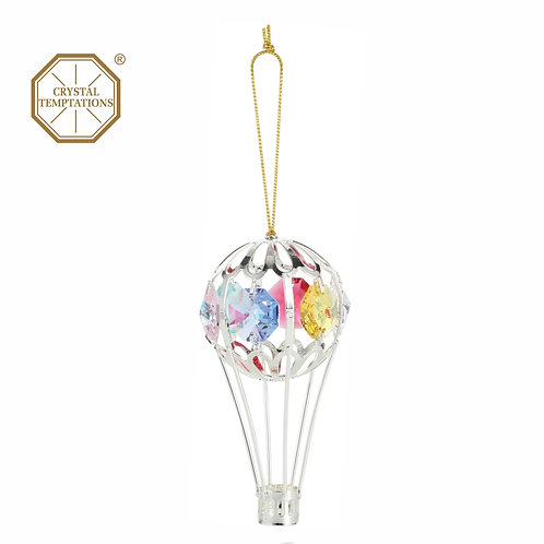 Silver Plated Small Balloon hanging ornament with Swarovski Crystal
