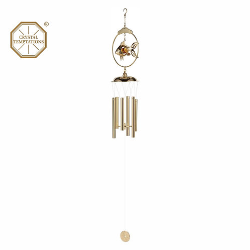 24K Gold Plated Golden Fish Wind Chimes with Swarovski Crystal and Rhinestone