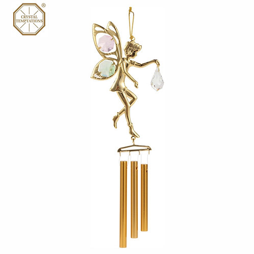 24K Gold Plated Fairy Wind-Chime with Swarovski colour Crystal