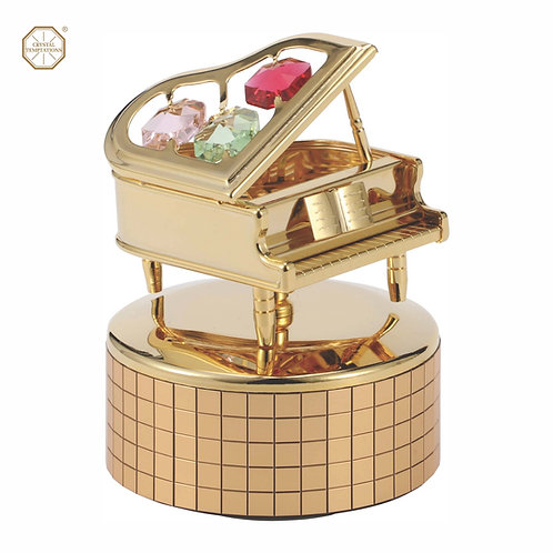 24K Gold Plated Piano music box with Swarovski colour Crystal
