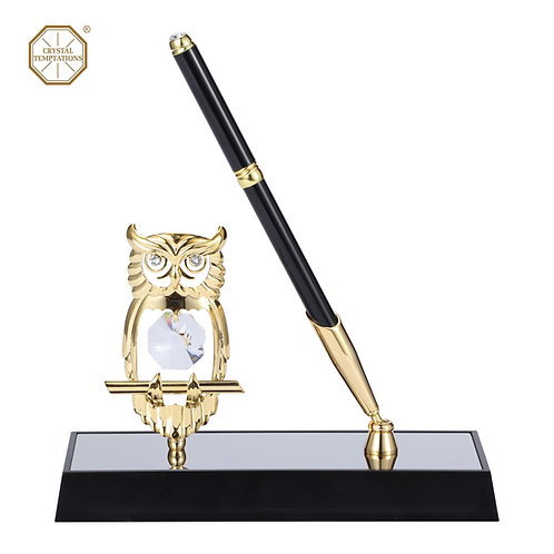 24K Gold plated iron pen stand (Owl) with Swarovski crystals