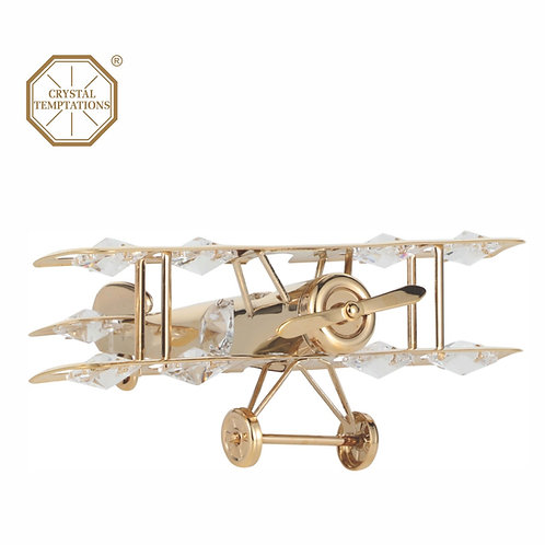 24K Gold Plated iron table decoration (Aeroplane) with clear Swarovski Crystal