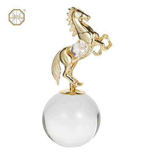 Luxury Gold plated iron Crystal ball stand decorated with Swarovski Crystal