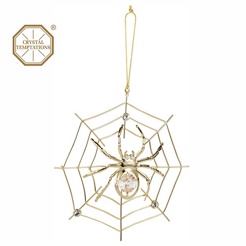 24K Gold Plated Spider hanging ornament and decorated with Austrian crystal