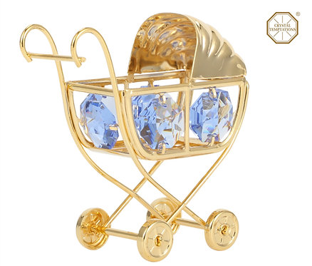 24K Gold plated iron table decoration (Pram) with Swarovski crystals