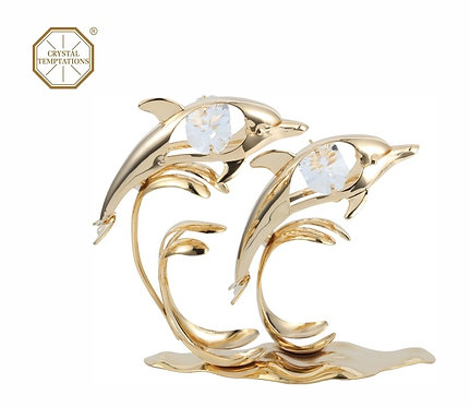 24K Gold Plated Dolphins table decoration with Swarovski Crystal