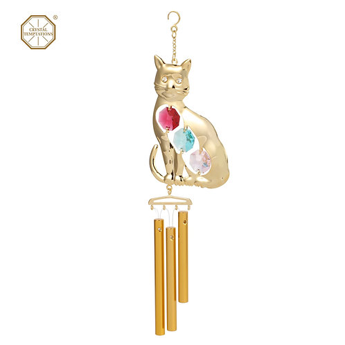 24K Gold plated iron Wind Chime (Cat) with 3pcs assorted Swarovski crysta