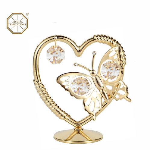 24K Gold Plated Butterfly table decoration with Swarovski Crystal