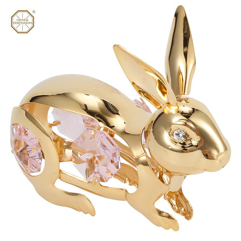 24K Gold plated iron table decoration (Rabbit) with Swarovski crystals