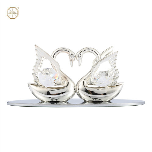 Deluxe Silver-plated iron table decoration (2 small swans)with Swarovski crystal