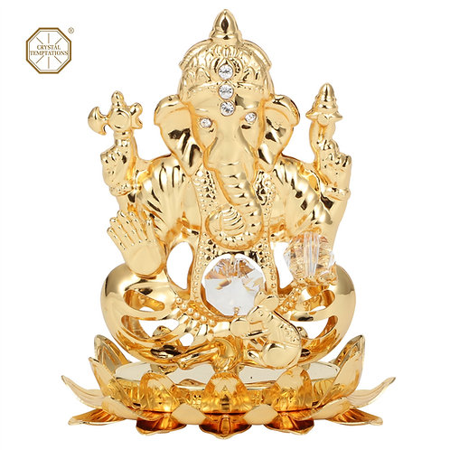 Gold plated iron table decoration (Indian God) with Swarovski crystal
