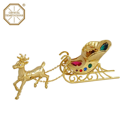 24K Gold Plated Reindeer with sleigh Figurine with Swarovski Crystal