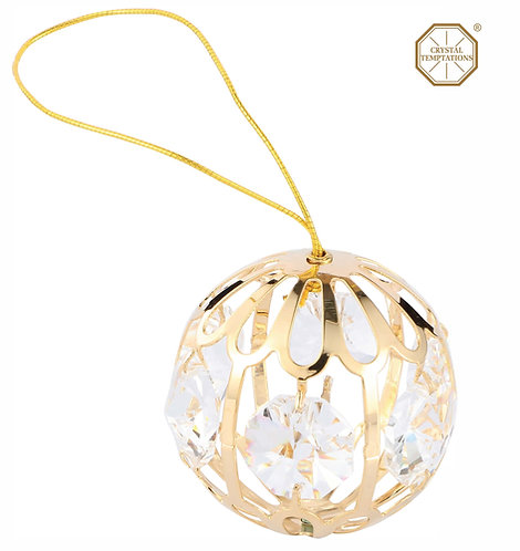 24K Gold plated Iron hanging ornament (small crystal ball) with Clear Swarovski