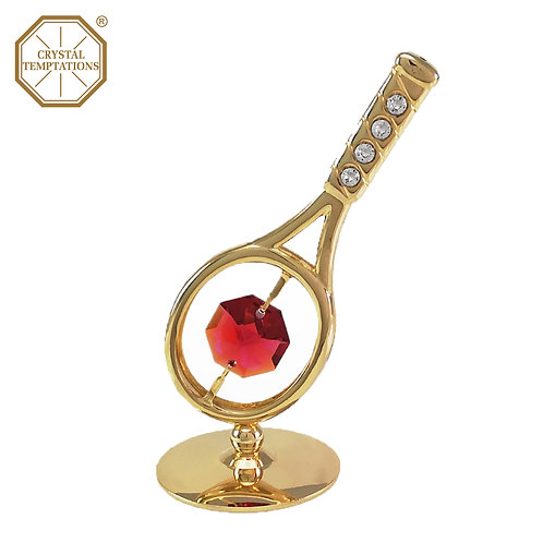 24K Gold Plated Tennis Racket table decoration with Swarovski Crystal