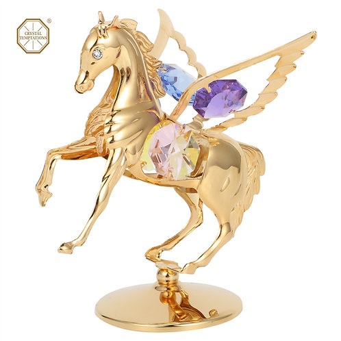 24K gold plated iron table decoration (Flyhorse) with Swarovski crystals