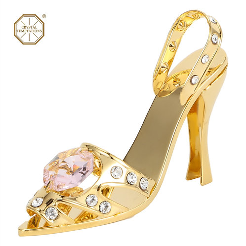 24K Gold plated iron table decoration (Lady's Sandal) with Swarovski crystals