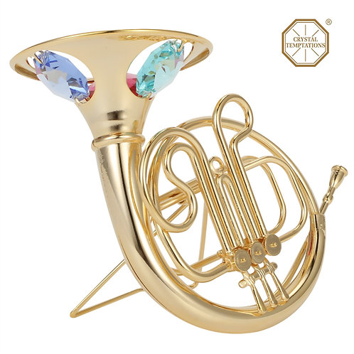 24K Gold plated iron table decoration (French Horn) with Swarovski crystals