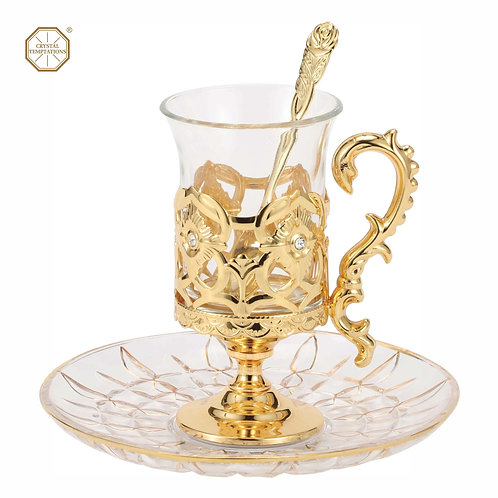 24K Gold plated iron cup holder set (with plate and spoon)