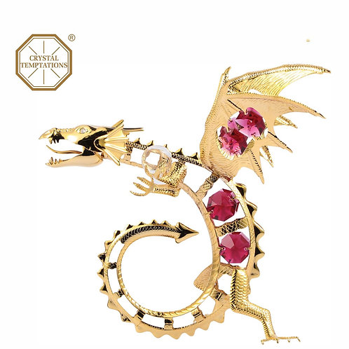 24K Gold plated iron table decoration (Dragon) decorated with Swarovski Crystal