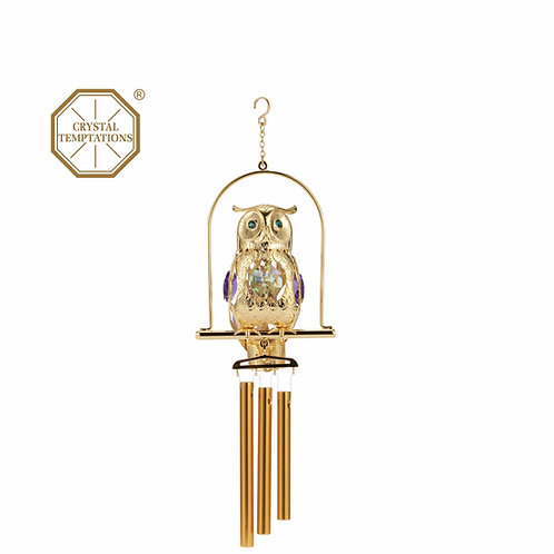 24K Gold Plated Owl Wind Chimes with Swarovski Crystal