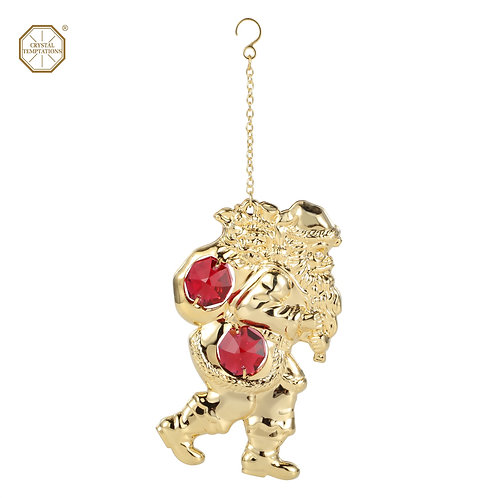 24K Gold plated iron hanging ornament (Santa Clause) with Swarovski crystal