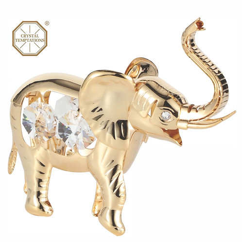 24K Gold Plated Elephant table decoration with Swarovski Crystal