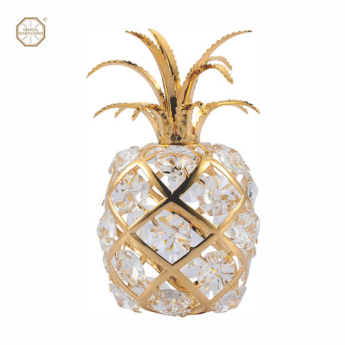 24K Gold Plated Pineapple figurine with Swarovski Crystal