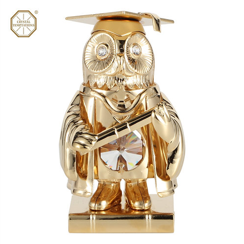 24K Gold plated iron table decoration (Master Owl) with Swarovski cryst