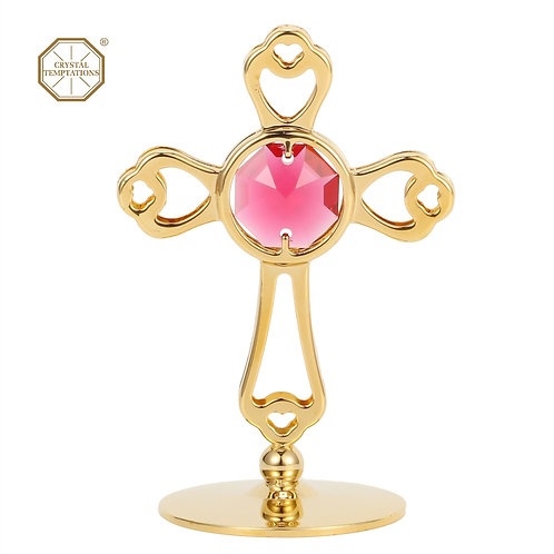 Gold plated iron table decoration (Small Cross) with Swarovski crystal