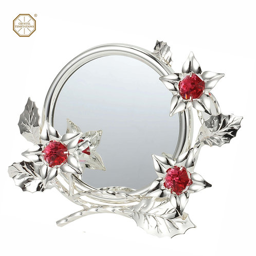 "Deluxe silver-plated iron photo frame with mirror (3.5"" x 3.5"") and 3 flowers"