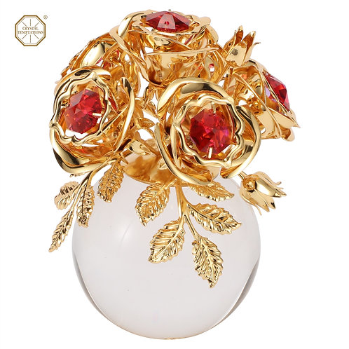 24K Gold plated table decoration (Rose flower crystal ball) with Swarovski